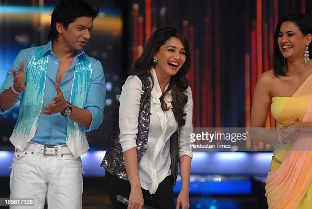 Bollywood actor Madhuri Dikshit with television actor Shweta Tiwari during the first look of the dance reality show Jhalak Dikhla Jaa Season 6 at...