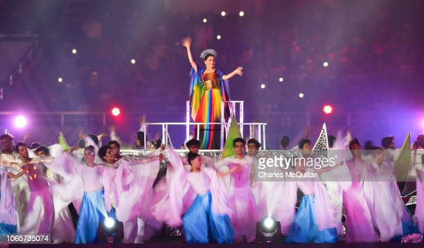 Bollywood actor Madhuri Dixit Nene performs in the opening ceremony for the Mens Hockey World Cup 2018 takes place at Kalinga Stadium on November 27...