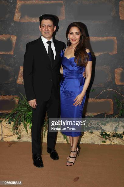 Bollywood actor Madhuri Dixit Nene with husband Sriram Nene during the premiere of upcoming film Mowgli Legend Of the Jungle on November 25 2018 in...