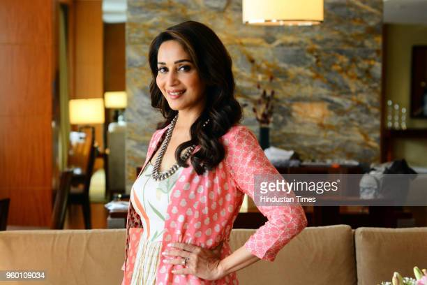 Bollywood actor Madhuri Dixit poses during an exclusive interview with Hindustan Times for the promotion of Marathi movie 'Bucket List' on May 16...