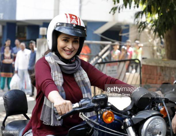 Bollywood actor Madhuri Dixit shooting for debut Marathi film Bucket List at Prabhat road on February 3 2018 in Pune India
