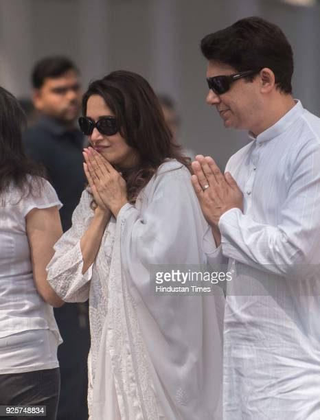 Bollywood actor Madhuri Dixit with husband Sriram Madhav Nene at celebration club to pay last respect to the late actor Sridevi at Andheri on...