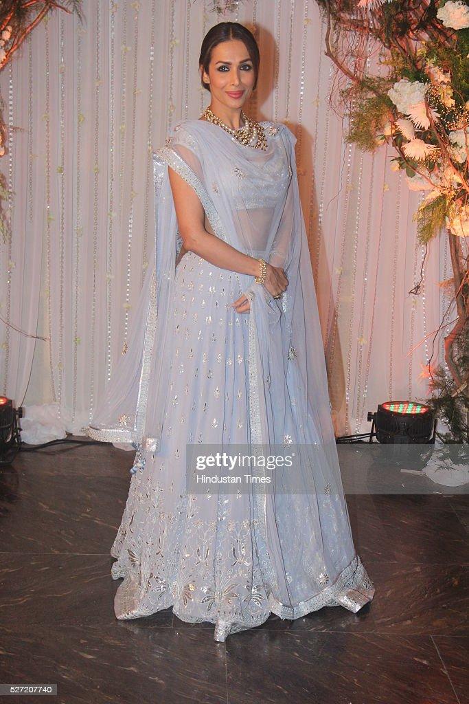 Bollywood actor Malaika Arora Khan at wedding reception of couple Bipasha Basu and Karan Singh on April 30 2016 in Mumbai India Bipasha Basu got...