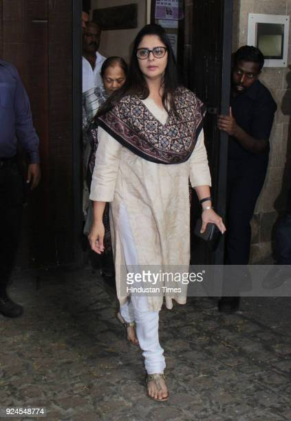 Bollywood actor Nagma visits Anil Kapoor residence at Juhu to offer condolences to the family after the demise of Bollywood actor Sridevi on February...