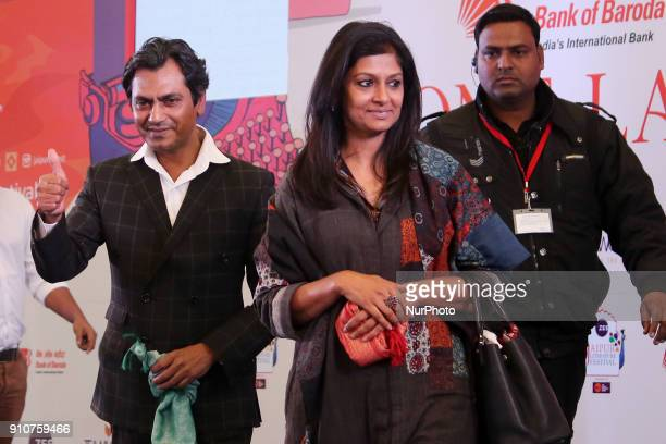 Bollywood actor Nawazuddin Siddiqui and Director Nandita Das during the Jaipur Literature Festival 2018 at Diggi Palace in Jaipur Rajasthan India on...