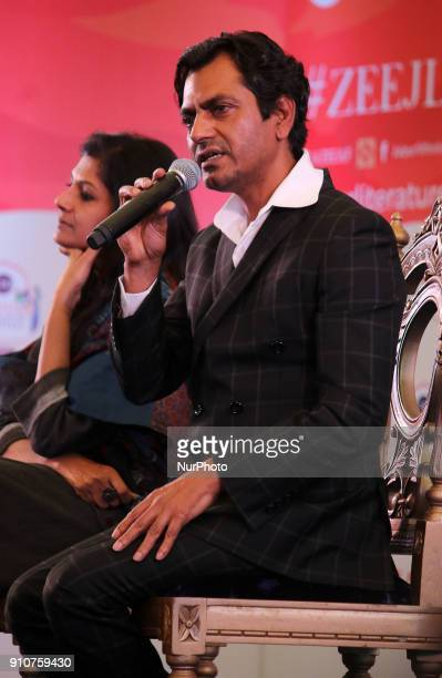 Bollywood actor Nawazuddin Siddiqui and Director Nandita Das speaks during the Jaipur Literature Festival 2018 at Diggi Palace in Jaipur Rajasthan...
