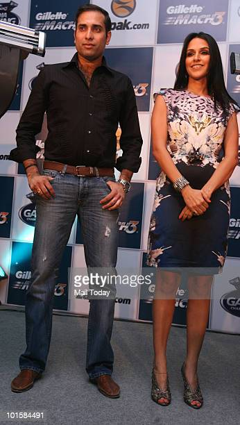 Bollywood actor Neha Dhupia and cricketer VVS Laxman at the launch of an online gaming championship in New Delhi on June 2 2010