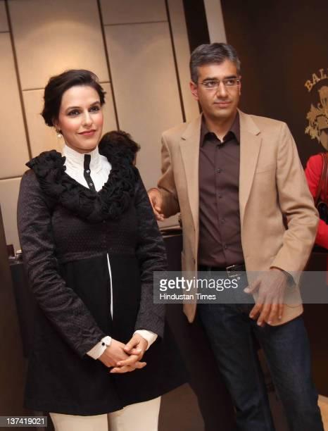 Bollywood actor Neha Dhupia and Executive Director Bird Group Ankur Bhatia attend the launch party for the Bird Group Calendar 2012 'Free Da! The...