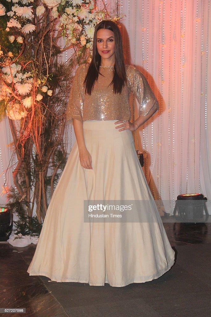 Bollywood actor Neha Dhupia at wedding reception of couple Bipasha Basu and Karan Singh on April 30 2016 in Mumbai India Bipasha Basu got married to..