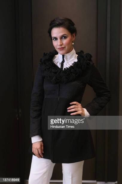 Bollywood actor Neha Dhupia attends the launch party for the Bird Group Calendar 2012 'Free Da The Homage' at DLF Emporio Mall on January 18 2012 in...