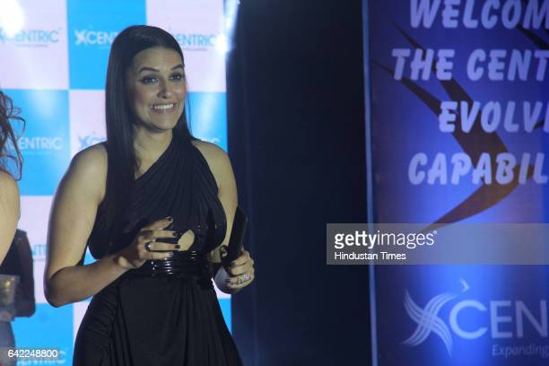 Bollywood actor Neha Dhupia during the launch of Centric Smartphones new range at ITC Maratha Andheri on February 15 2017 in Mumbai India