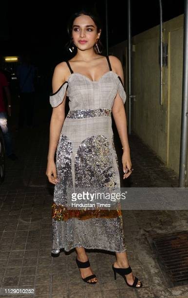 Bollywood actor Nidhhi Agerwal during the special screening of a movie Lukka Chuppi at Juhu on March 1 2019 in Mumbai India