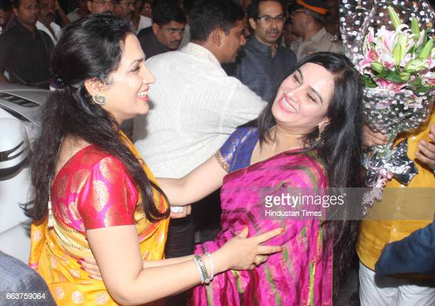 Bollywood actor Padmini Kolhapure and Rashmi Thackeray during the opening of Pandit Pandharinath Kolhapure Marg at JVPD Juhu on March 28 2017 in...