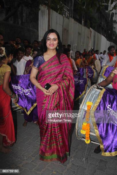 Bollywood actor Padmini Kolhapure during the opening of Pandit Pandharinath Kolhapure Marg at JVPD Juhu on March 28 2017 in Mumbai India Pandit...
