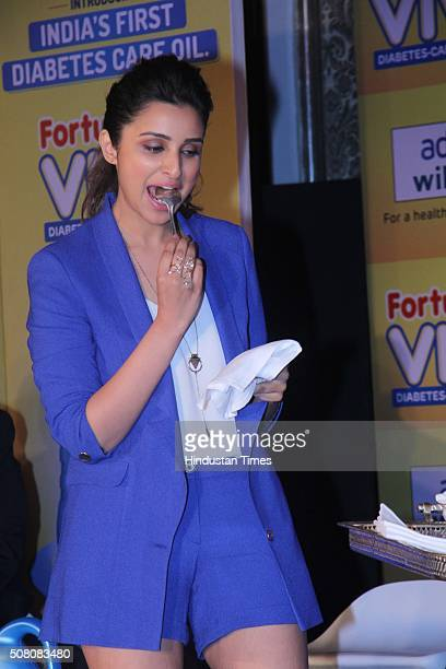 Bollywood actor Parineeti Chopra during the launch of diabetes care cooking oil Fortune Vivo by Adani Wilmar at Taj Mahal Palace Colaba on February 1...