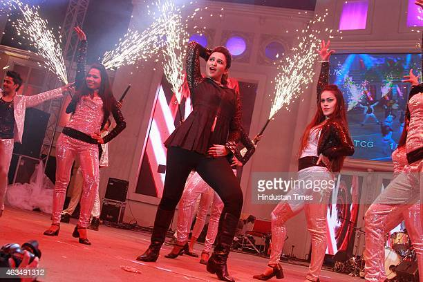 Bollywood actor Parineeti Chopra performs during the wedding reception of Shrey Aeren and Shaloo Aeren hosted by Sanjeev Aeren and his wife Sunita...