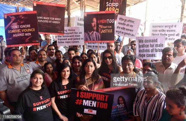 Bollywood actor Pooja Bedi and Shewta Shalini BJP leader along with members of Vaastav Foundation gather in support of MenToo to fight against false...