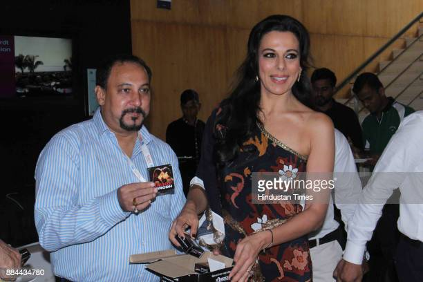 Bollywood actor Pooja Bedi distributing Condom packs on the occasion of World AIDS Day, on December 1, 2017 in Mumbai, India. World AIDS Day,...