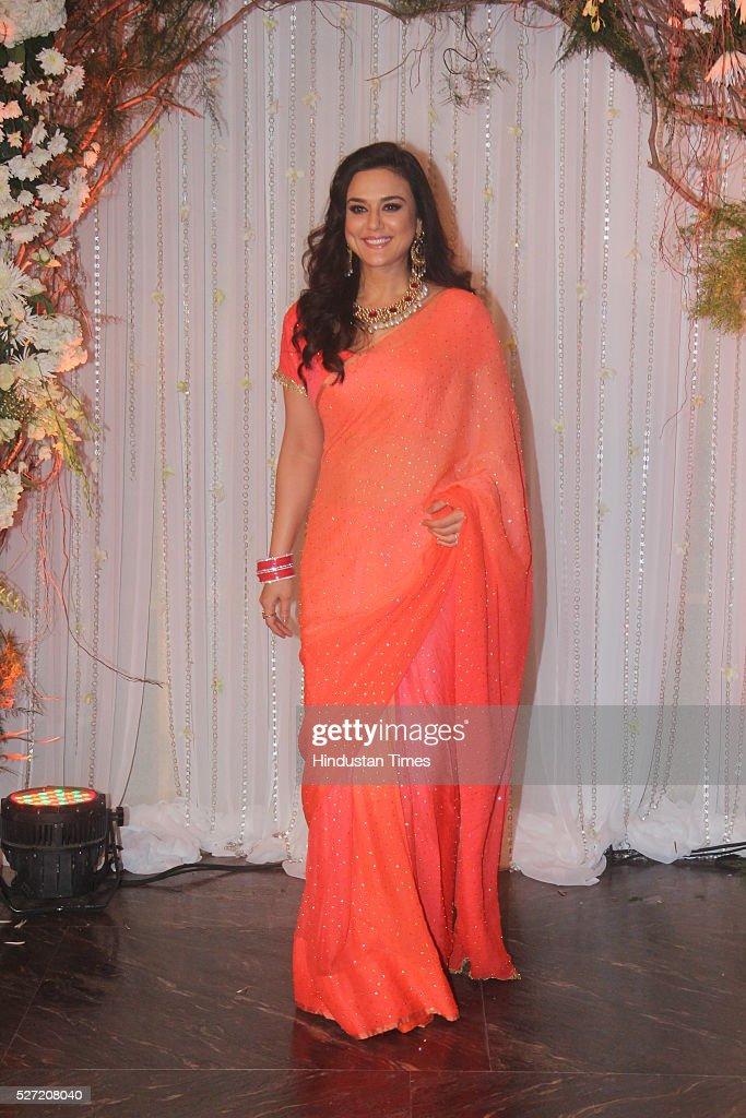 Bollywood actor Preity Zinta at wedding reception of couple Bipasha Basu and Karan Singh on April 30 2016 in Mumbai India Bipasha Basu got married to.