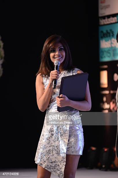 Bollywood actor Priyanka Chopra after being awarded India's style Icon 2015 during the Hindustan Times Delhis Most Stylish 2015 award function on May...