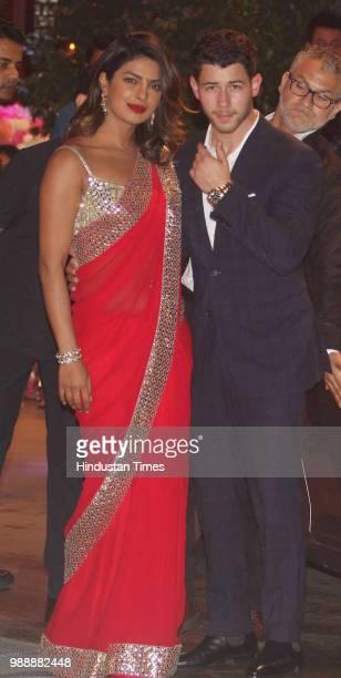 Bollywood actor Priyanka Chopra and American singer Nick Jonas during the engagement party of Akash Ambani and Shloka Mehta at Estella Juhu at...