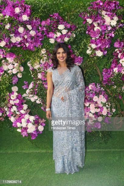 Bollywood actor Priyanka Chopra attending the wedding ceremony of Akash Ambani at JIO World Centre BKC on March 9 2019 in Mumbai India On Saturday...