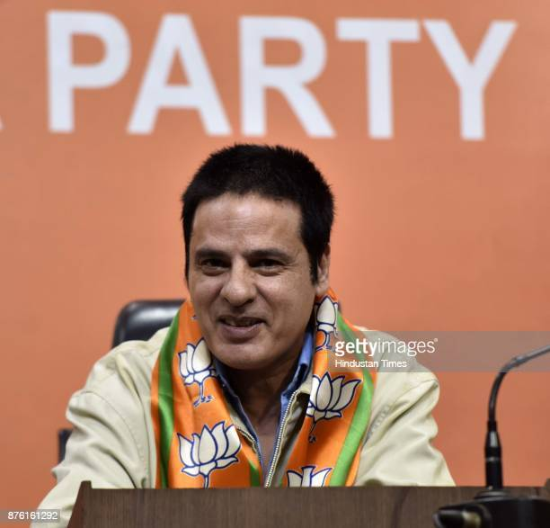 Bollywood actor Rahul Roy joined the BJP in presence of Union Minister Vijay Goel at the party headquarters on November 18 2017 in New Delhi India...