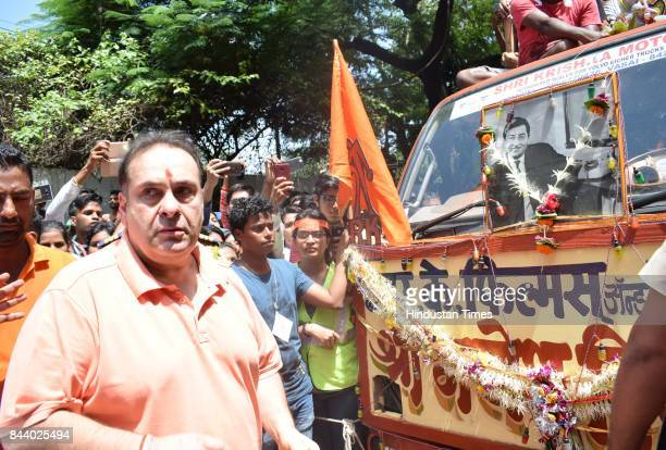 Bollywood actor Rajiv Kapoor spotted at RK Studio during the last day of Ganpati festival on September 5 2017 in Mumbai India