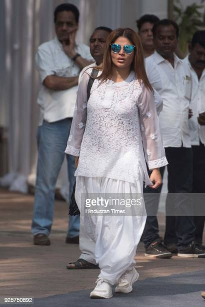 Bollywood actor Rakhi Sawant at celebration club to pay last respect to the late actor Sridevi at Andheri on February 28 2018 in Mumbai India The...