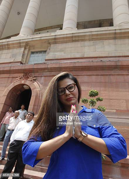 Bollywood actor Rakhi Sawant at Parliament during budget session on August 12 2014 in New Delhi India She has recently joined Ramdas Athawaleled RPI...