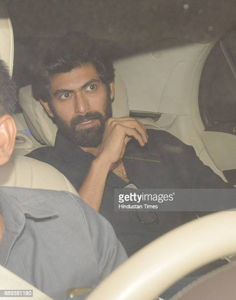 Bollywood actor Rana Daggubati arrives to attend the 45th birthday celebration party of filmmaker Karan Johar at his residence on May 25 2017 in...