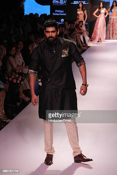 Bollywood actor Rana Daggubati walks the ramp displaying an outfit by fashion designer Anushree Reddy during the Lakme Fashion Week Winter/Festive...
