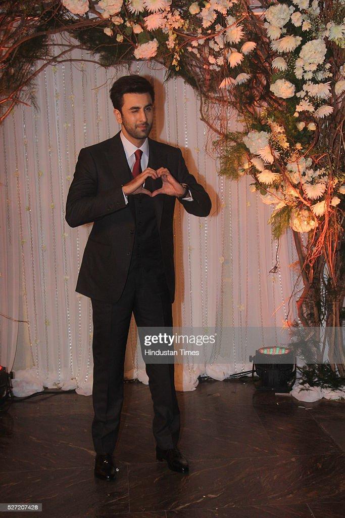 Bollywood actor Ranbir Kapoor at wedding reception of couple Bipasha Basu and Karan Singh on April 30 2016 in Mumbai India Bipasha Basu got married...