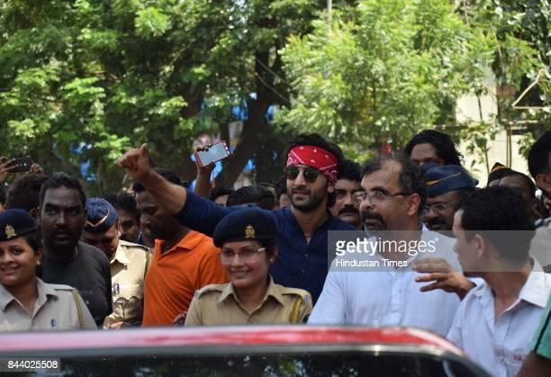 Bollywood actor Ranbir Kapoor spotted at RK Studio during the last day of Ganpati festival on September 5 2017 in Mumbai India