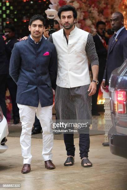 Bollywood actor Ranbir Kapoor with director Ayan Mukherji during the engagement party of Akash Ambani and Shloka Mehta at Estella Juhu at Ambanis...