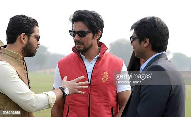Bollywood actor Randeep Hooda during the polo match in Golden Green Golf Club on February 7 2016 in Gurgaon India