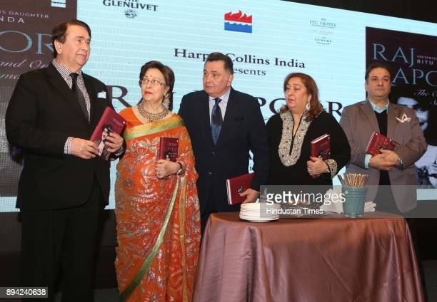 Bollywood actor Randhir Kapoor author Ritu Nanda actor Rishi Kapoor Reema Jain and actor Rajiv Kapoor during the launch of author Ritu Nanda's book a...