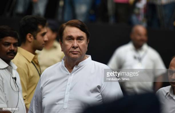 Bollywood actor Randhir Kapoor during a condolence meeting of late actor Shashi Kapoor at Prithvi Theatre Juhu on December 7 2017 in Mumbai India...
