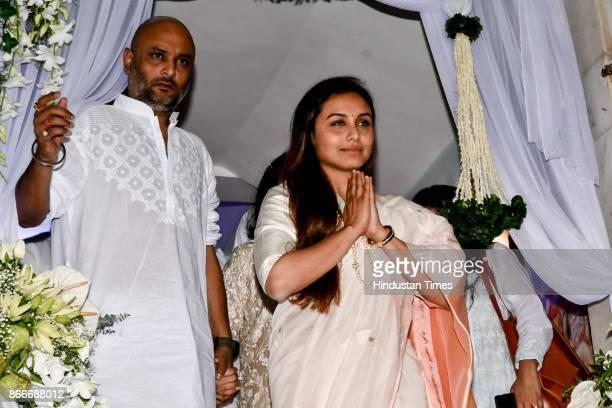 Bollywood actor Rani Mukerji along with her family members during the prayer meeting in loving memory of Ram Mukherjee at ISCON Juhu on October 25...