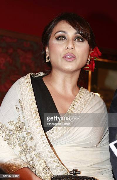 Bollywood actor Rani Mukerji during the Shree Raj Mahal Jewellers India Couture Week 2014 in association with Logix Group at the Taj Palace Hotel on...