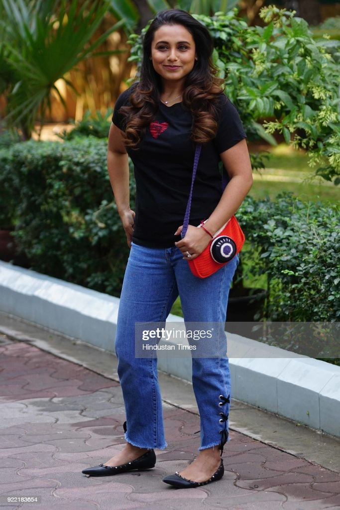 Bollywood actor Rani Mukerji visited studio in Andheri, on February 20, 2018 in Mumbai, India.