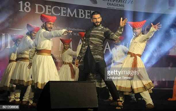 Bollywood actor Ranveer Singh during the music promotional event of the upcoming movie Bajirao Mastani at Ambience Mall on December 13 2015 in...