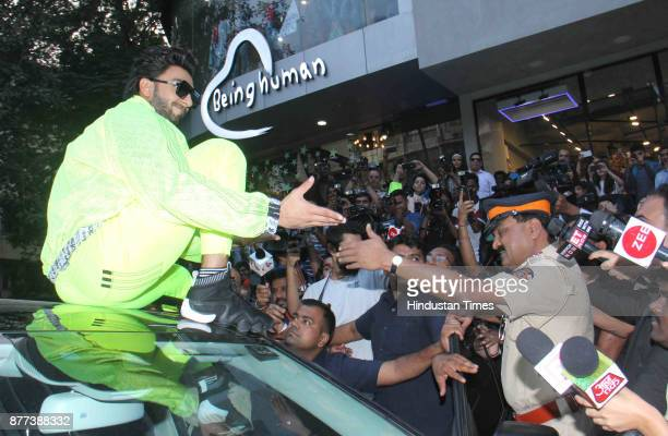 Bollywood actor Ranvir Singh attended an event where he was given police protection due to movie Padmavati controversy at Khar on November 21 2017 in...