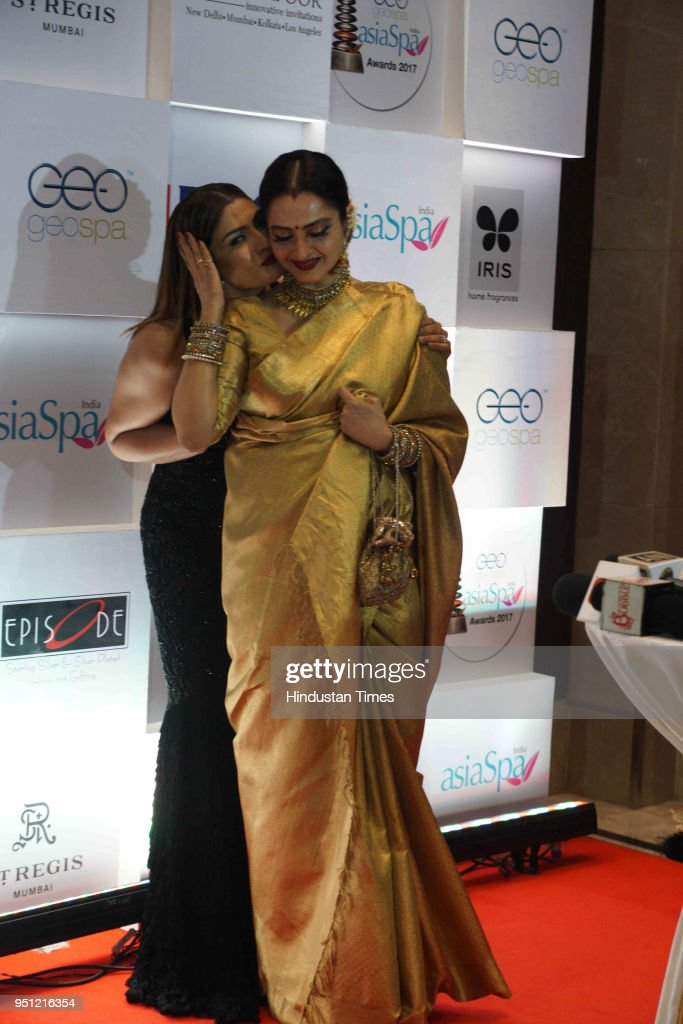 Bollywood actor Raveena Tandon and Rekha during Asia Spa India Awards 2018 at St Regis Lower Pare on April 24 2018 in Mumbai India