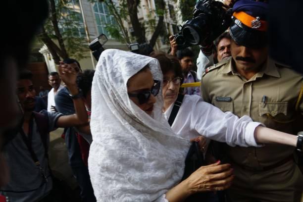 Bollywood actor Rekha arrives at Anil Kapoor`s residence in Mumbai after tragic news of Sridevi`s demise on February 25 2018