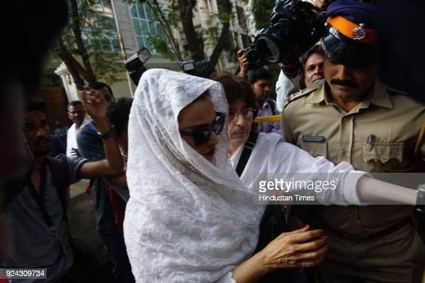 Bollywood actor Rekha arrives at Anil Kapoor's residence in Mumbai after tragic news of Sridevi's demise on February 25, 2018.