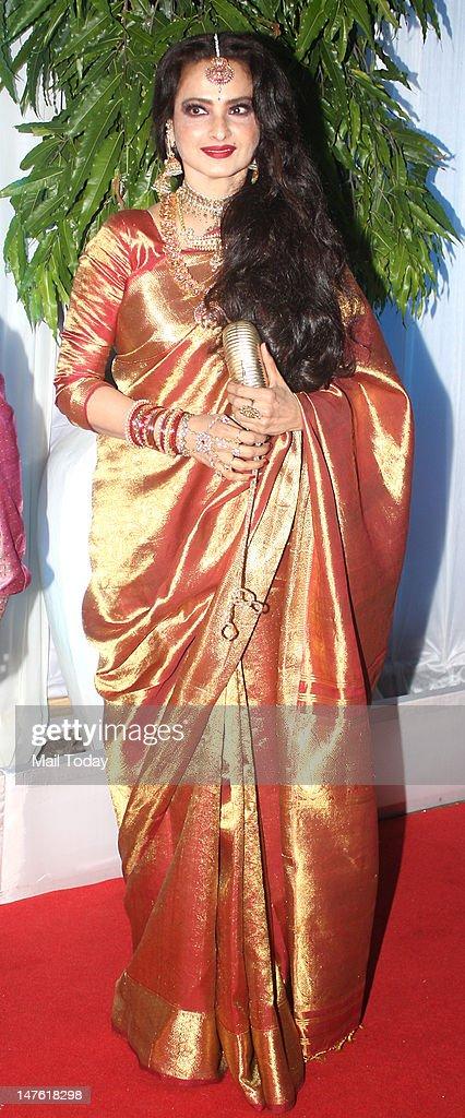 Bollywood actor Rekha arrives at the wedding reception of Esha Deol and Bharat Takhtani in Mumbai on Saturday
