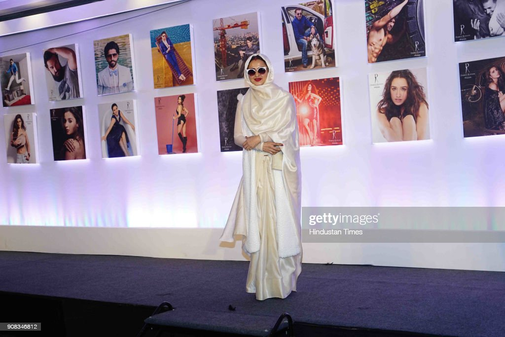 Bollywood actor Rekha during the 2018 calendar launch of celebrity photographer Dabboo Ratnani on January 17 2018 in Mumbai India