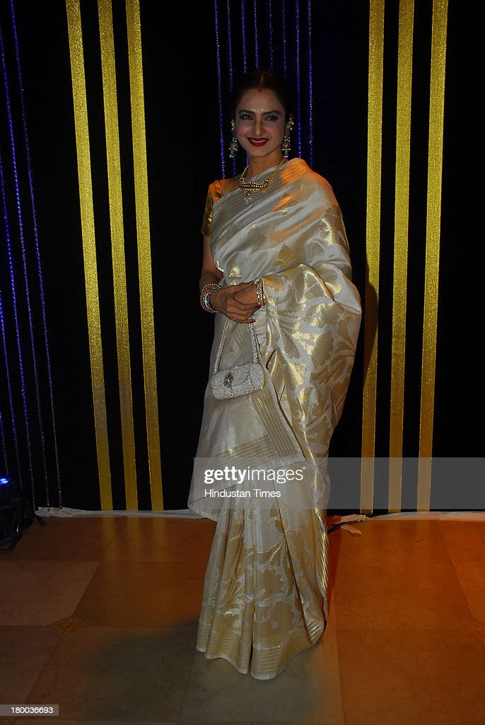 Bollywood actor Rekha during the 64th birthday celebrations of actor turned producer Rakesh Roshan at Blue Sea Worli Seaface on September 6 2013 in...