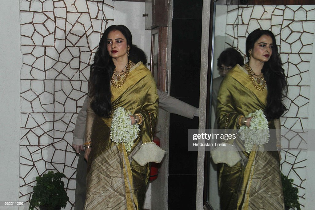 Bollywood actor Rekha during the birthday party of Javed Akhtar at his residence in Juhu on January 17 2017 in Mumbai India